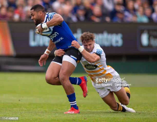Bath Rugby's Joe Cokanasiga is tackled by Wasps' Josh Bassett during the Gallagher Premiership Rugby match between Bath Rugby and Wasps at Recreation...