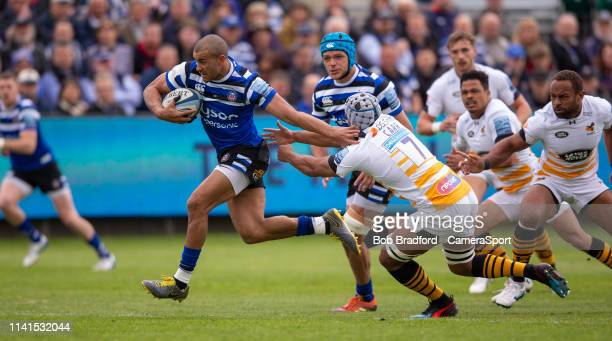 Bath Rugby's Jonathan Joseph in action during the Gallagher Premiership Rugby match between Bath Rugby and Wasps at Recreation Ground on May 5 2019...