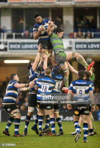 Bath Rugby's Levi Douglas claims a line out during the Anglo Welsh Cup Round Three match between Bath Rugby and Newcastle Falcons at Recreation...