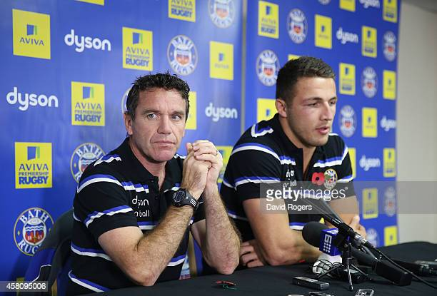 Bath Rugby's new signing Sam Burgess, alongside Bath director of rugby, Mike Ford face the media during the media session held at the Recreation...