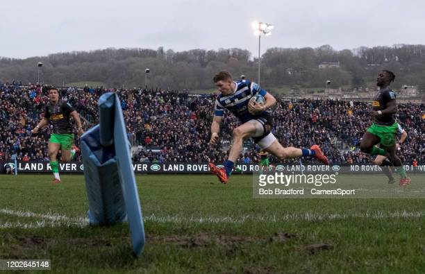 Bath Rugby's Ruaridh McConnochie scores his sides second try during the Gallagher Premiership Rugby match between Bath Rugby and Harlequins at on...