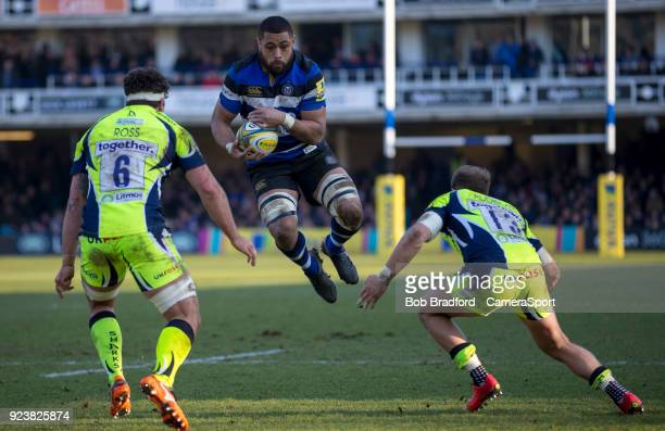 Bath Rugby's Taulupe Faletau in action during todays match during the Aviva Premiership match between Bath Rugby and Sale Sharks at Recreation Ground...