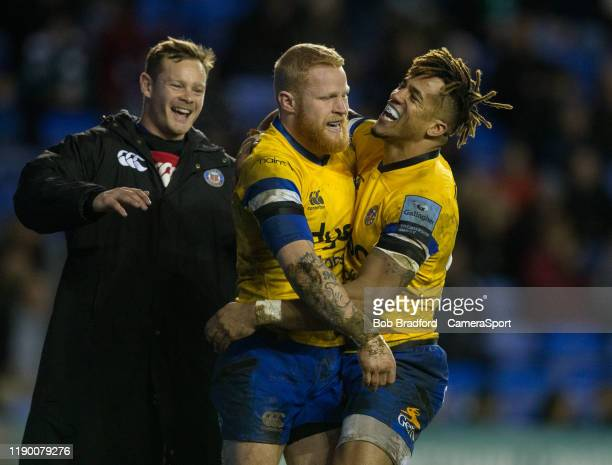 Bath Rugby's Tom Homer celebrates scoring his side a try with Bath Rugby's Anthony Watson and Bath Rugby's Chris Cook during the Gallagher...