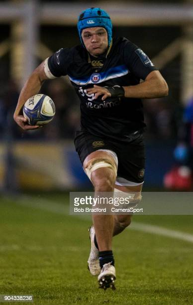Bath Rugby's Zach Mercer during the European Rugby Champions Cup match between Bath Rugby and Scarlets at Recreation Ground on January 12 2018 in...