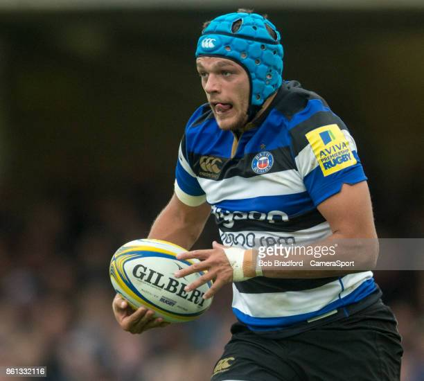 Bath Rugby's Zach Mercer in action during the European Rugby Champions Cup match between Bath Rugby and Benetton Rugby at Recreation Ground on...