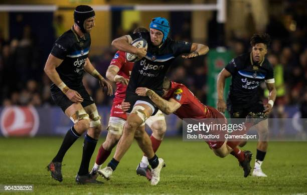 Bath Rugby's Zach Mercer in action during the European Rugby Champions Cup match between Bath Rugby and Scarlets at Recreation Ground on January 12...