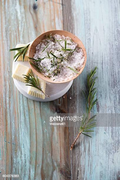 Bath salt and bathpralines with herbs, rosemary, eucalyptus and pine, bowl