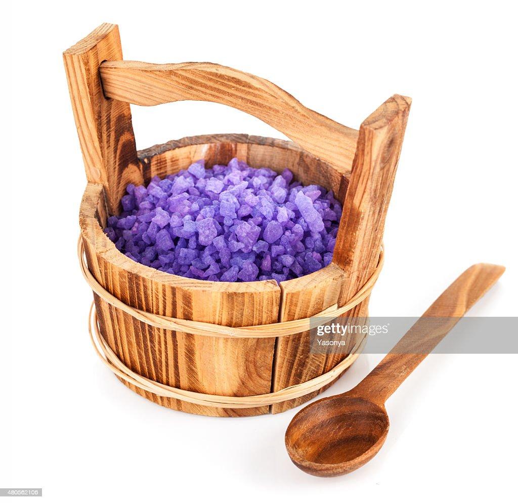 Bath salt in wooden bucket : Stock Photo