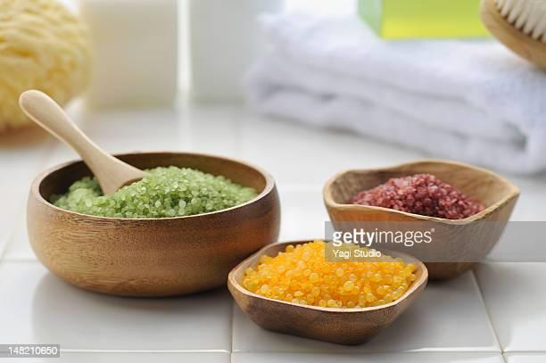 Bath Salts and bath towel in a bathroom