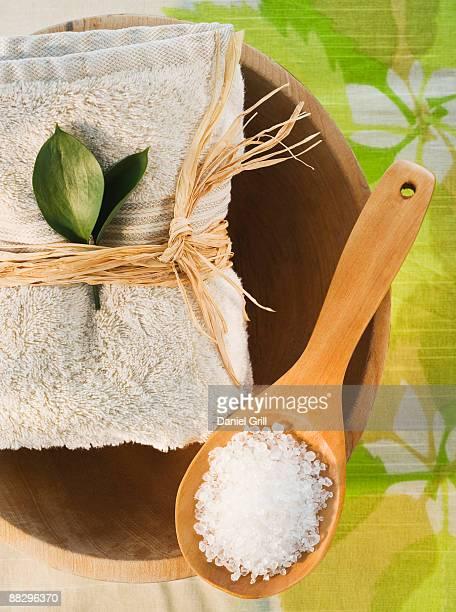 Bath salts and spa towel
