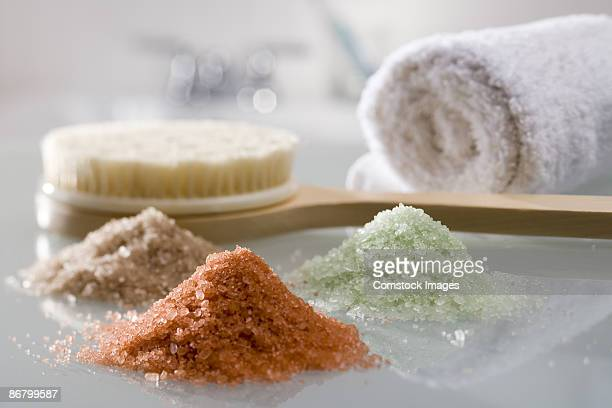 Bath salts, towel and body brush