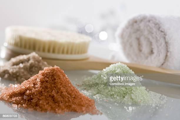 Bath salts, towel and body brush