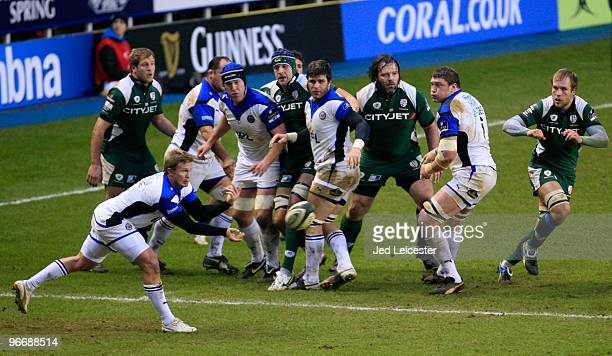 Bath scrum half Michael Claasens passes the ball away from the lineout during the Guinness Premiership match between London Irish and Bath at the...