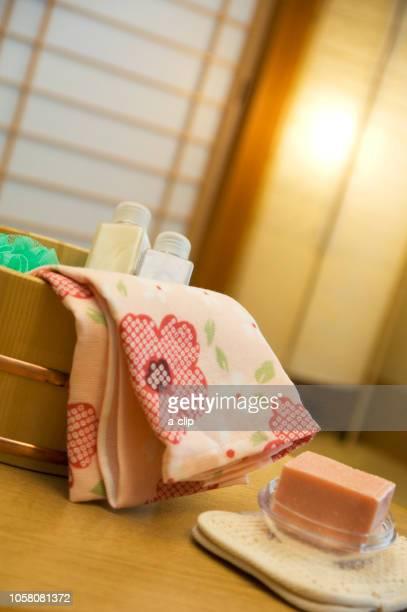 お風呂セット - 手ぬぐい ストックフォトと画像