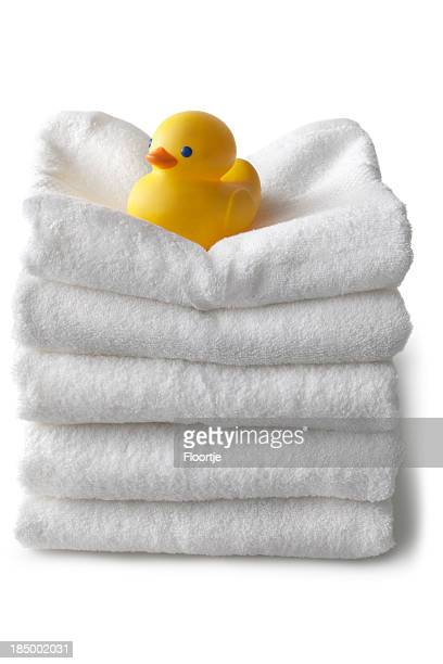 Bath: Towels and Rubber Duck Isolated on White Background