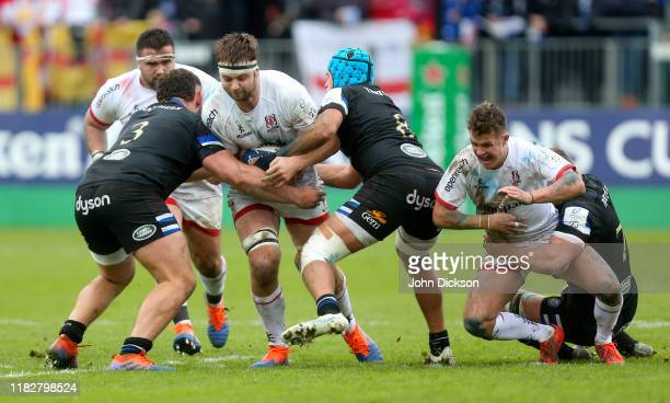 Bath United Kingdom 16 November 2019 Iain Henderson of Ulster is tackled by Zach Mercer and Will Stuart of Bath during the Heineken Champions Cup...