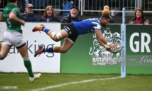 Bath wing Joe Cokanasiga dives over for the second Bath try during the Gallagher Premiership Rugby match between Bath Rugby and Newcastle Falcons at...