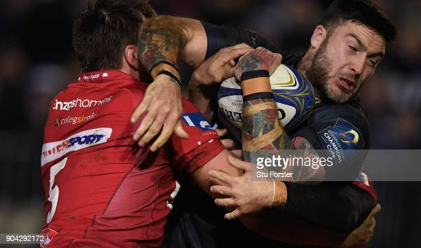 Bath wing Matt Banahan on the charge during the European Rugby Champions Cup match between Bath Rugby and Scarlets at Recreation Ground on January 12...