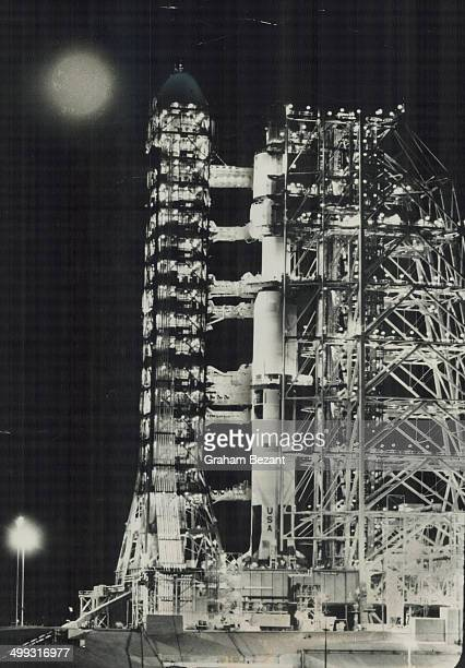 Bathed in Moonlight from the target of its flight 238000 miles away the Apollo 8 mooncraft stands surrounded by its launching equipment on the...