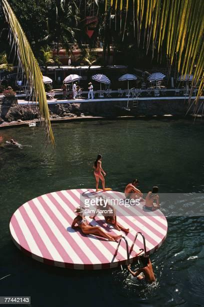 Bathers at La Concha Beach Club Acapulco Mexico February 1975