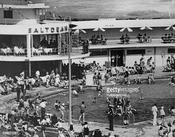 Bathers at Saltdean Lido East Sussex circa 1940