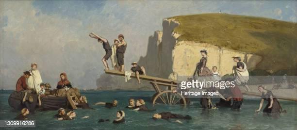 Bathers at Étretat, circa 1858. Found in the collection of Association Peindre en Normandie, Caen. Artist Lepoittevin , Eugène . .