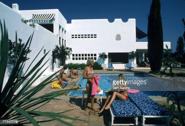 Bathers by a pool at Sotogrande Andalusia Spain August 1975