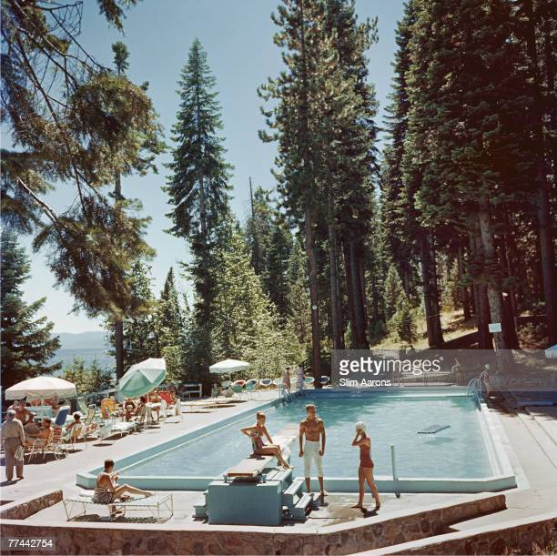 Bathers by a pool at the Tahoe Tavern on the shore of Lake Tahoe California 1959