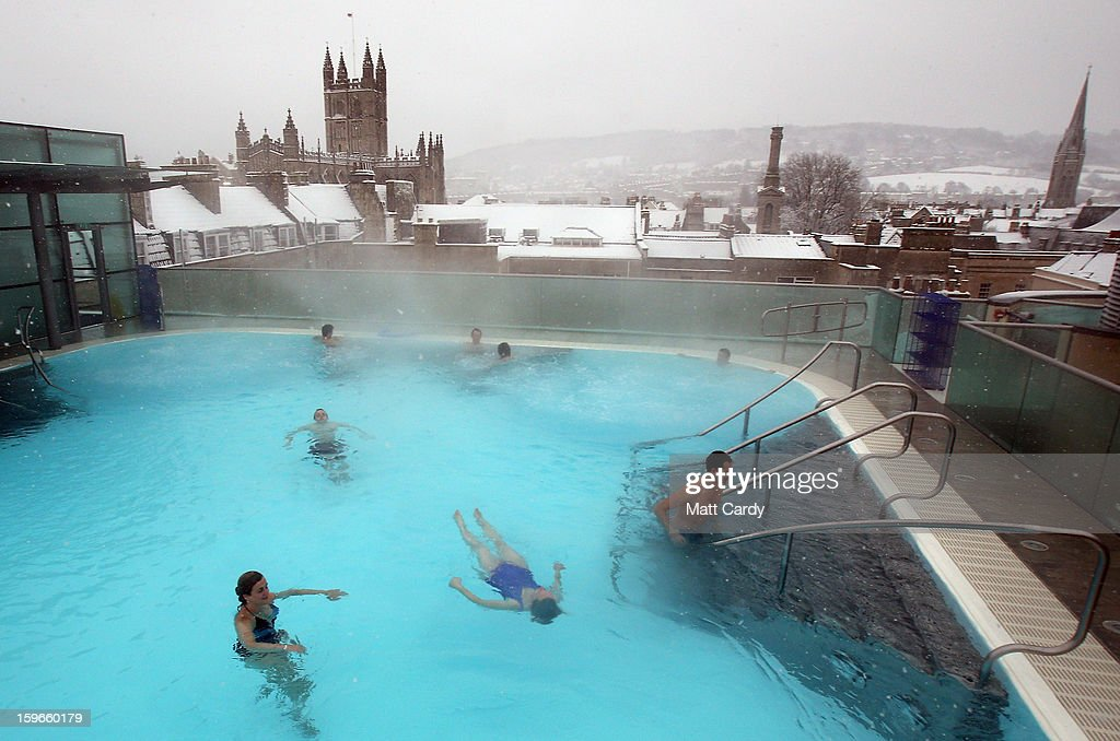 Bathers Enjoy The Rooftop Pool At The Thermae Bath Spa As The Snow News Photo Getty Images