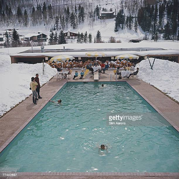 Bathers having a winter dip in a pool at Vail Colorado March 1964