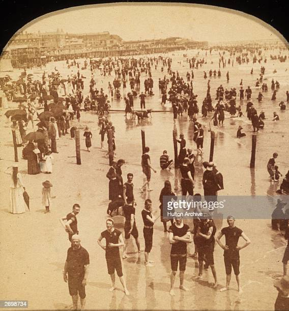 Bathers on the beach at Atlantic City New Jersey