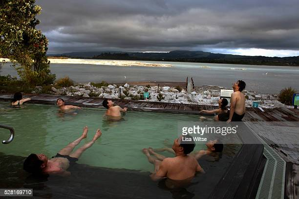 Bathers relax in the thermal waters overlooking Lake Rotorua at the Polynesian Spa The Lake Spa is Polynesian Spa's deluxe hot mineral bathing and...