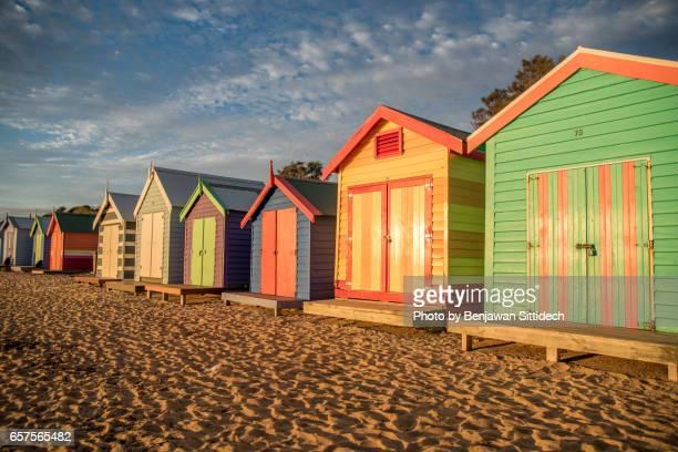 Bathing boxes on Brighton beach
