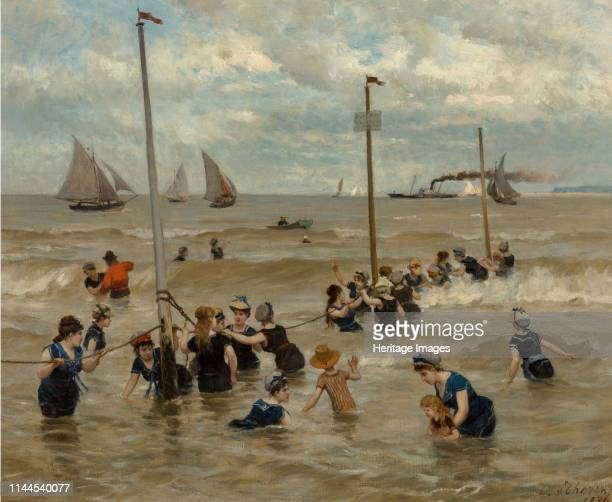 Bathing by the sea, 1876. Private Collection. Artist Thoren, Otto von .