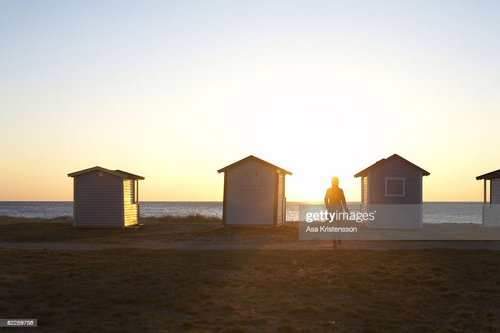 Bathing huts by the sea in the evening Sweden. : Stock Photo