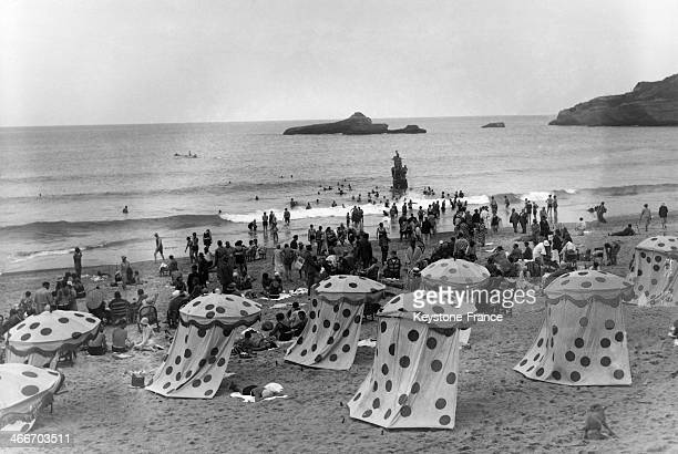 Bathing huts on the beach in September 1929 in Biarritz France