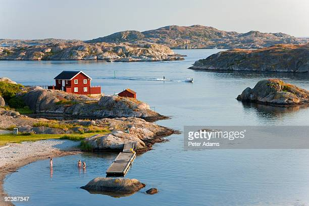 bathing in sea, sk?rhamn, tjorn, sweden - sweden stock pictures, royalty-free photos & images