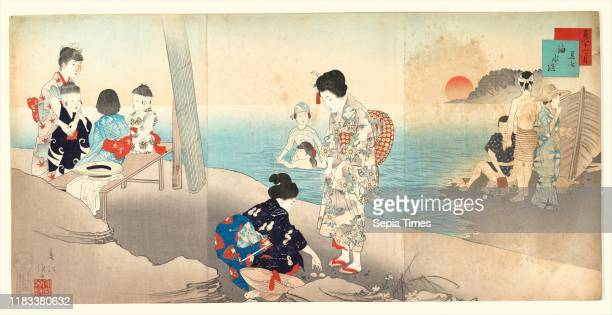 Bathing in the Sea Meiji period dated 1898 Japan Triptych of polychrome woodblock prints ink and color on paper Each panel 13 9/16 x 9 1/2 in Prints...
