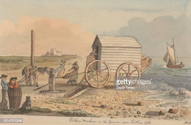 Bathing Machine on the Common, near Southsea Castle, John Nixon, ca. 1760–1818, British Watercolor, pen, and gray ink on medium, slightly textured,...