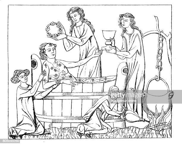 Bathing scene ca 1300 A knightly guest is hosted and bathed by the lady of the castle History of fashion costume story