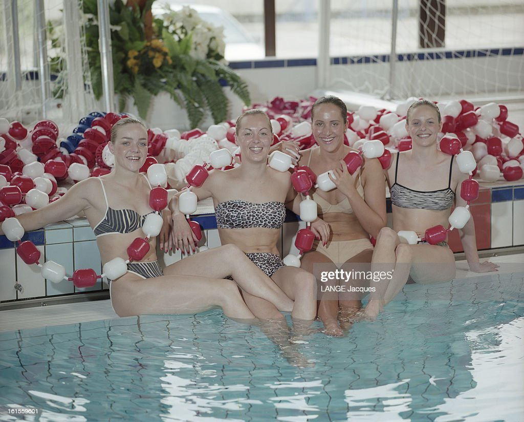 Bathing Suits Have An Olympic Form: France Women Synchronized Swimming Team Show The Suits Of The New Season : News Photo