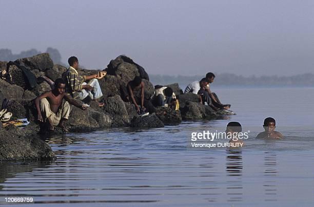 Bathing Zege Peninsula lake Tana in Ethiopia