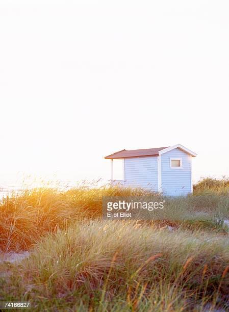 A bathing-hut on a beach.