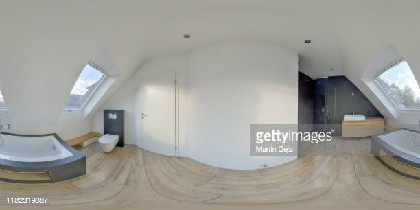 bathroom 360° hdr panorama - 360 degree view stock pictures, royalty-free photos & images