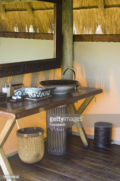 Bathroom at Mombo Camp in Botswana, Africa
