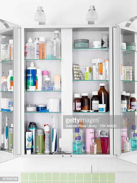 bathroom cabinet - medicine cabinet stock pictures, royalty-free photos & images
