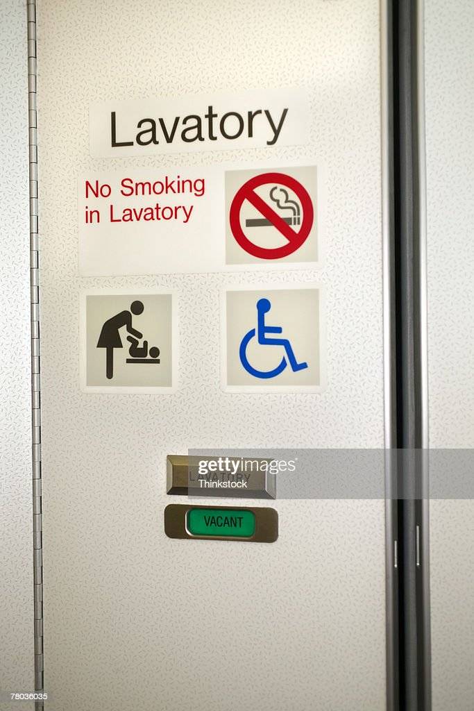 Bathroom door on airplane & Airplane Bathroom Stock Photos and Pictures   Getty Images