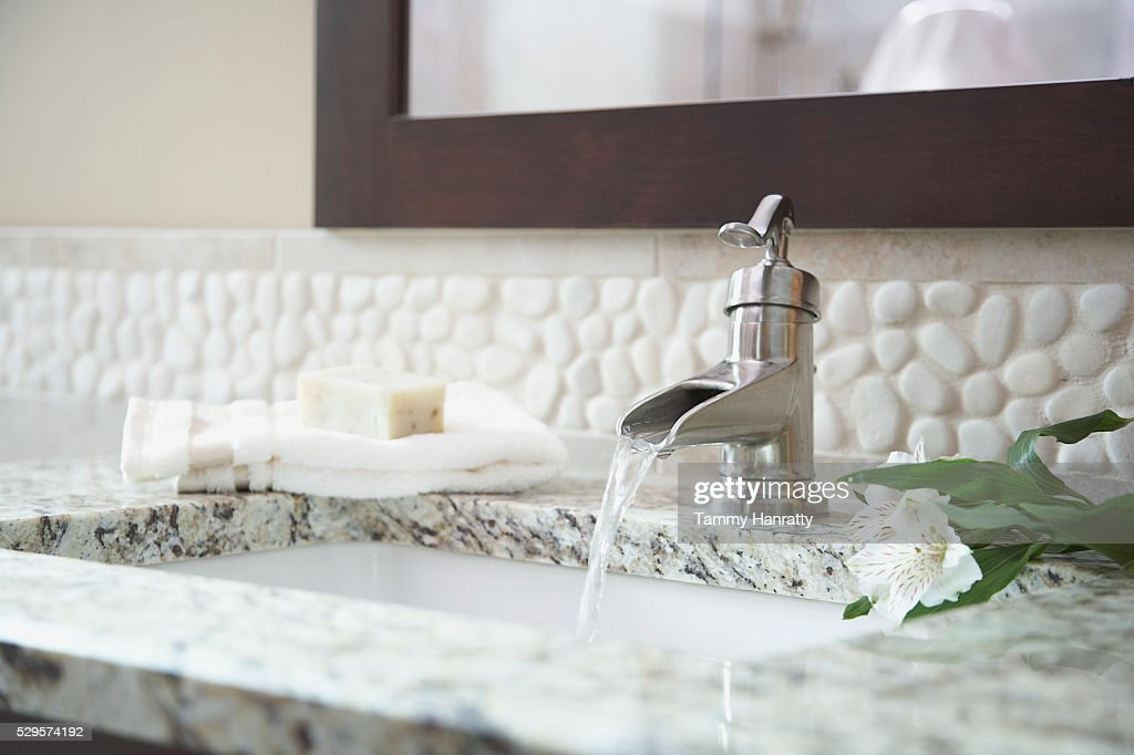 Bathroom faucet : Stock Photo