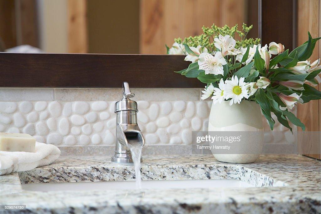 Bathroom faucet : Stock Photo