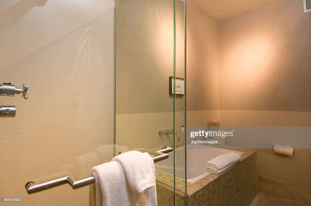 Bathroom in contemporary hotel room : Stock Photo